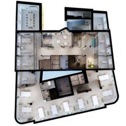 Biroju ēkas biroju interjera koncepts