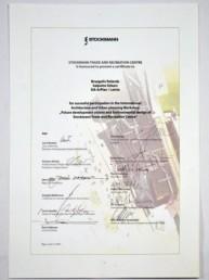 Сертификат об удачном участии в Международном семинаре архитектуры и градостроения